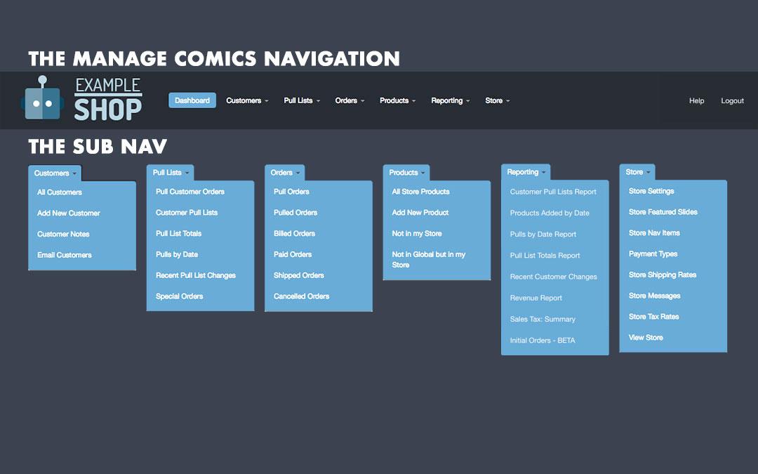 Manage Comics Navigation