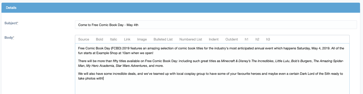 Free Comic Book Day email