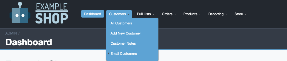 Email Customers Navigation